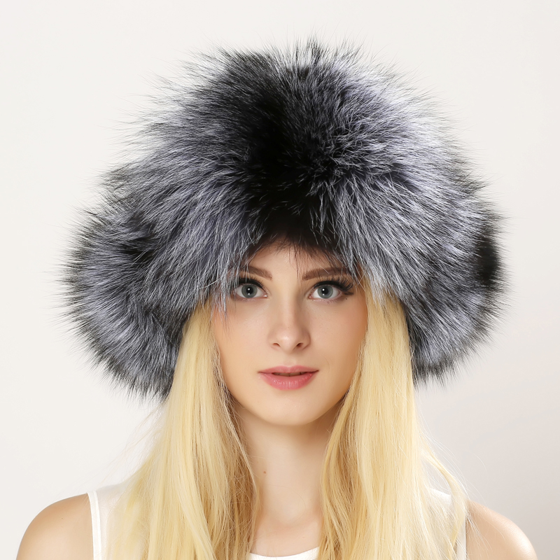 2016 Winter Unisex Genuine Fox Fur Hat Real Raccoon Fur Bomber Hat With Nature Leather Crown