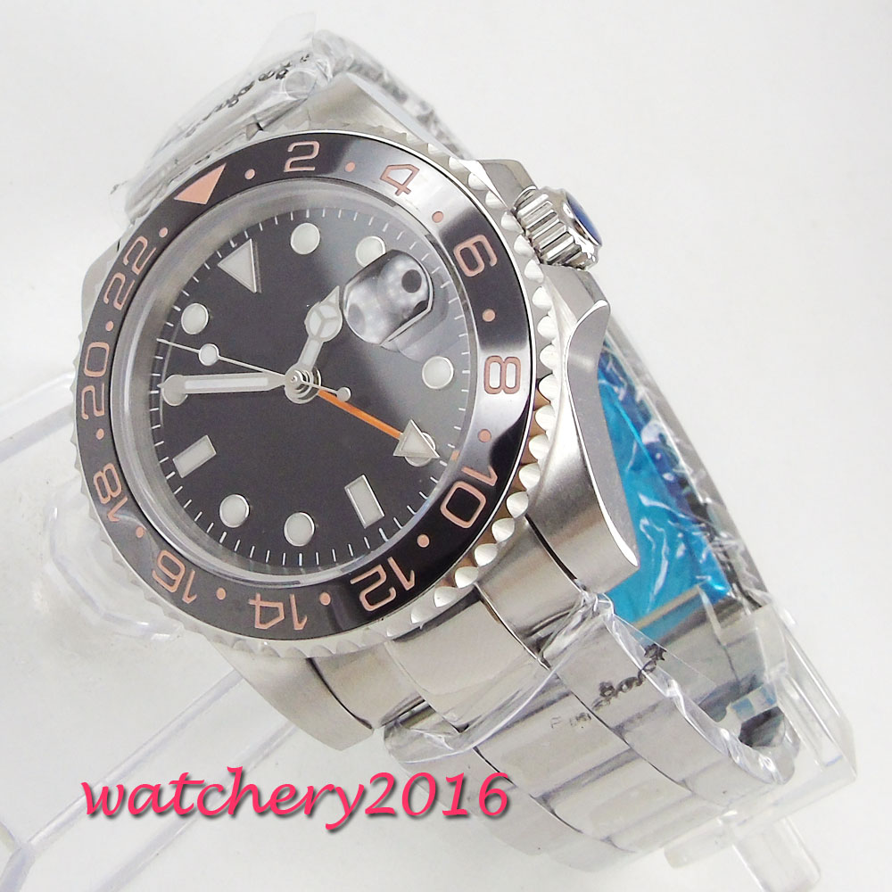 NEW Arrived 40mm Bliger Black Dial Rotating Ceramic Bezel Sapphire Glass Date Luminous GMT Luxury Automatic Movement mens WatchNEW Arrived 40mm Bliger Black Dial Rotating Ceramic Bezel Sapphire Glass Date Luminous GMT Luxury Automatic Movement mens Watch