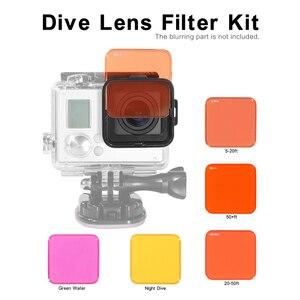Image 5 - Andoer 5 filtry soczewek zestaw profesjonalny przełączane kamera nurkowa filtr obiektywu zestaw do GoPro Hero 3 +/4 kamery sportowe