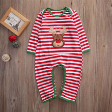 Christmas Twin Baby Girls Boys Striped Romper Clothes