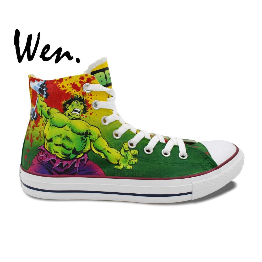 check out db0bf fff7c Wen garçons filles chaussures peintes à la main conception personnalisée  Hulk Deadlifters hommes femmes haut toile baskets pour cadeaux  d anniversaire dans ...