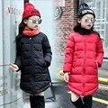 2016new женской моды девушка зимнее пальто детей пуховик теплый длинный толстый Высокое качество пальто детей одежда 12 лет