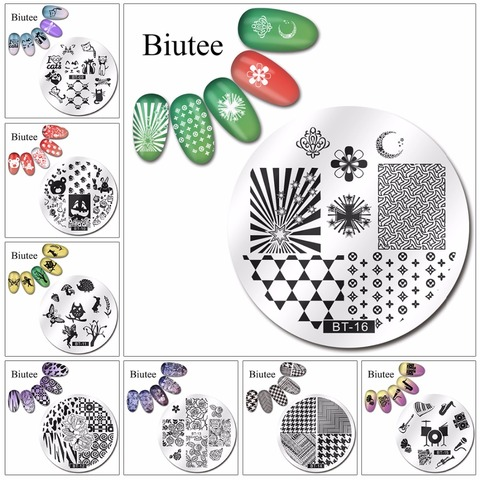 Biutee 1pc 20 Designs Nail Stamp Plate Classical Stripes Leaves Flowers Animals Star Musical Instruments Nail Template Islamabad