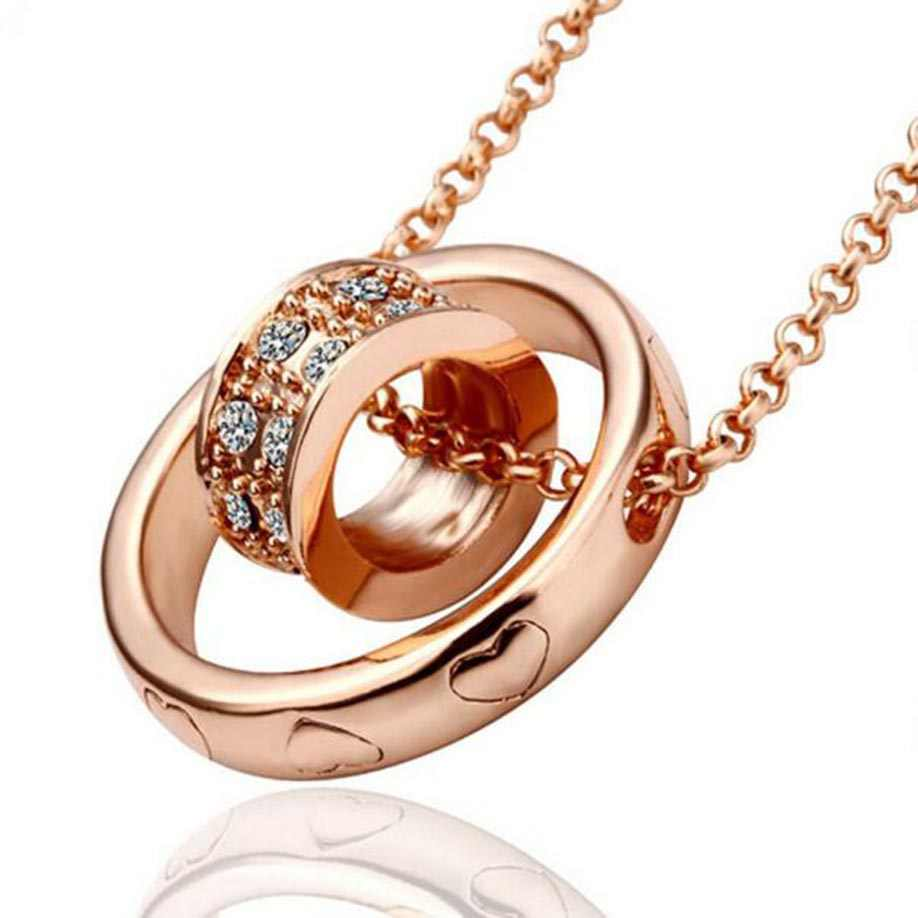 Stylish Women Necklace Crystal Chain Rhinestone Necklace Jewelry Love Heart Aneis Pendant Gift Rose Gold Valentine's Gift Choker