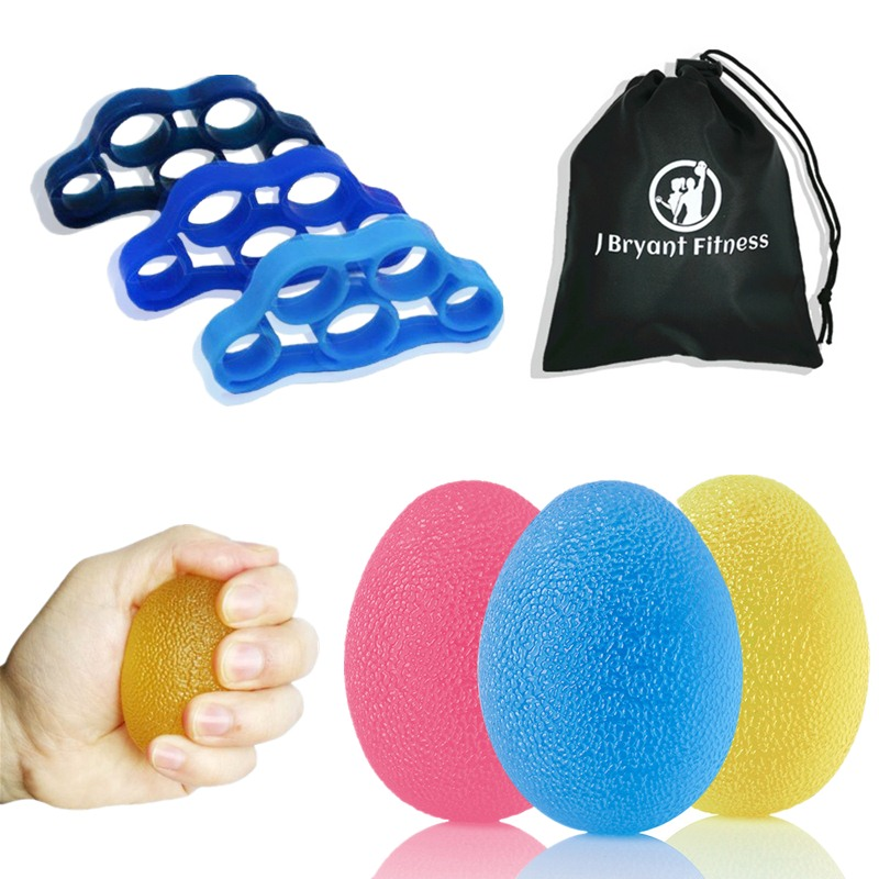 Stress Hand Grip Ball Finger Strength Training 3 Stress Relief Therapy Egg Balls And 3 Finger Stretcher Sets For Rehabilitation
