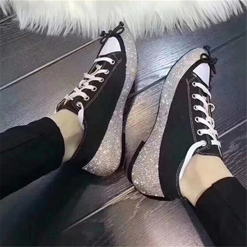 Pic Lace Mujer Donne Low Da Sapato Espadrillas Sposa Donna Sneakers Cristallo As Appartamenti Di New Bowtie Top Up Abito Scarpe Strass Zapatos nWHOAw81aq