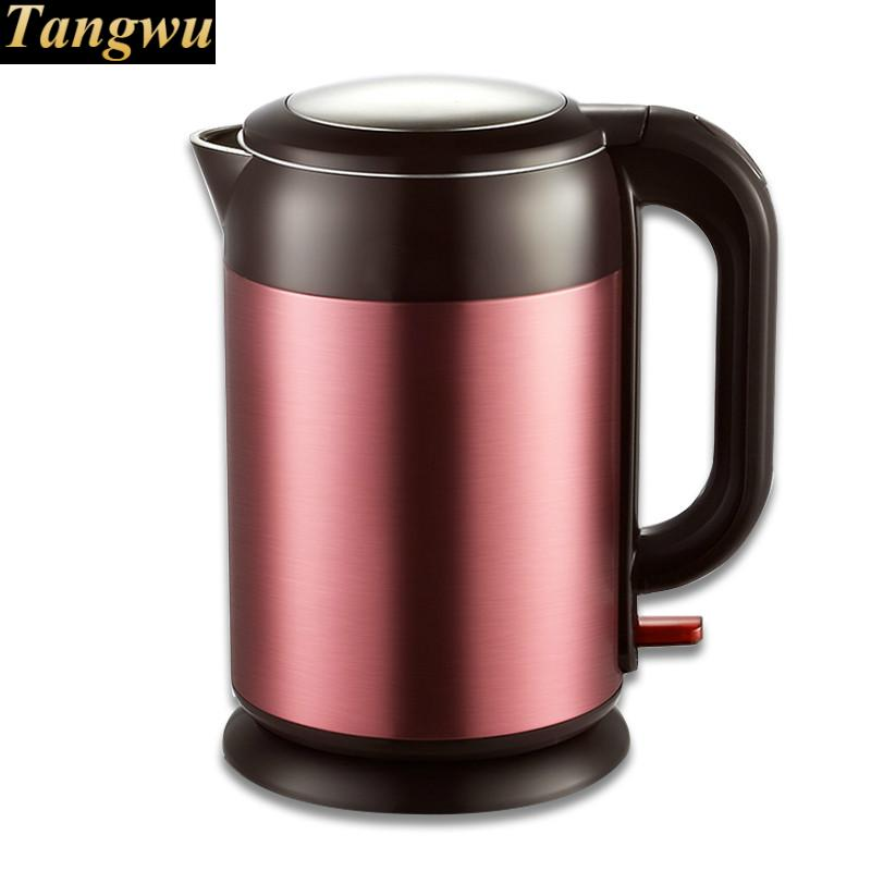 Electric heating kettle household 304 stainless steel automatic double defense cukyi stainless steel 1800w electric kettle household 2l safety auto off function quick heating red gold