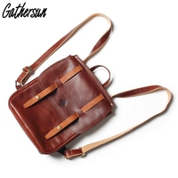 Gathersun Latest Leather Backpack Handmade Italian Vegetable Tanned Leather Women School Bag Genuine Cowhide Backpack for Travel
