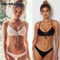 VIEUNSTA Pleated Lace Up Bikini Set Push Up Swimwear Swimsuit Women Beach Biquini Pareo Bath Swimwear