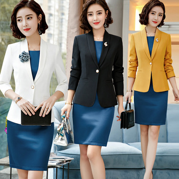 Elegant Formal Dress Suit 2 Piece Tops And Dress Work Office Ladies Blazers Jackets Sets For Female White Fall Winter Plus Size formal wear