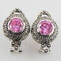 Розовый Имитация Сапфир 925 Серебряные Серьги TE509