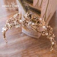 HIMSTORY Vintage Gold Leaf Bridal Tiara Baroque Wedding Hair Crown Accessories Pearl Women Hair Jewelry Tiaras