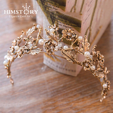 HIMSTORY Vintage Gold Leaf Bridal Tiara Baroque Wedding Hair Crown Accessories Pearl Women Hair Jewelry Tiaras