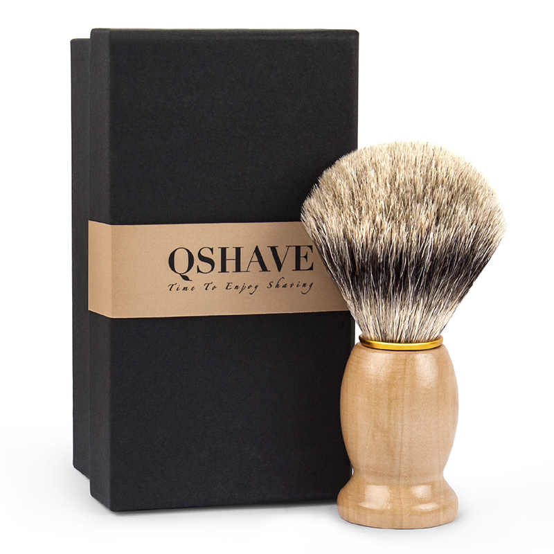 Qshave Man Pure Badger Hair Razor Shaving Brush 100% for Safety Straight Classic Safety Razor IT 10.3cm x 4.9cm Brown Tree Color mens badger shaving brush stand razor holder and double head safety straight razor