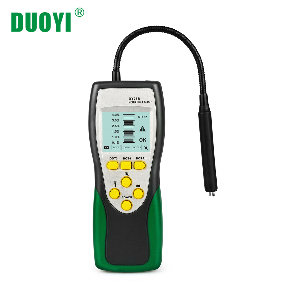 DUOYI DY23B Car Brake Fluid Tester Oil Inspection 250mm Goose Neck Detector 2 2LCD DOT3 DOT4