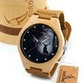 BOBO PÁSSARO G10 Mens relógios de Quartzo Mostrador do Relógio De Madeira de Bordo Inverno Rena De Madeira na Caixa de Presente reloj hombre 2016