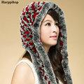 Winter women's rex rabbit hair knitted cap knitted ear hat scarf fur hat