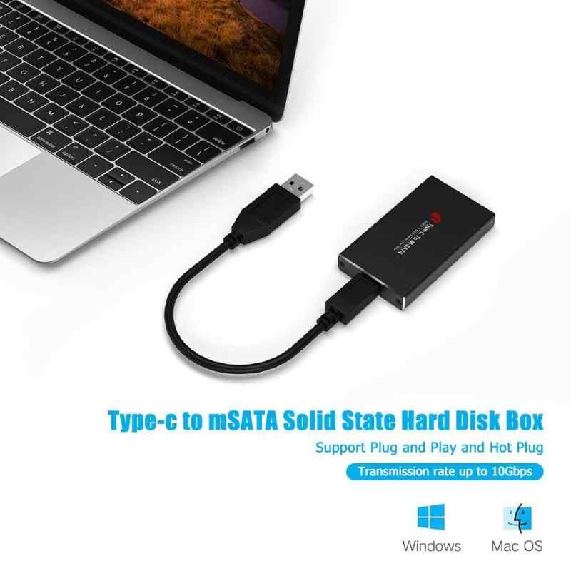 Adaptador de caja móvil tipo C a mSATA USB 3,1 SSD carcasa de unidad de estado sólido con indicador de alimentación LED compatible con UASP