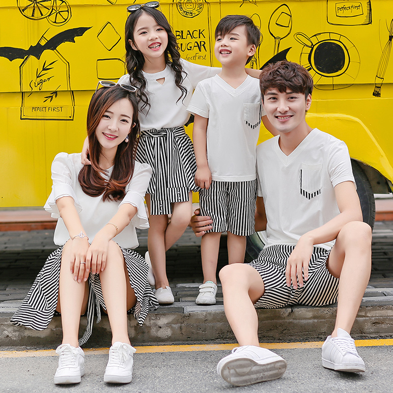 mom and daughter black and white striped a line skirt pants chiffon shirt men short pants v neck t-shirts for boys girls skirts ...