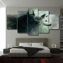 5 Panels HD Printed Animal two Wolf Painting Canvas Print Room decor print poster Picture
