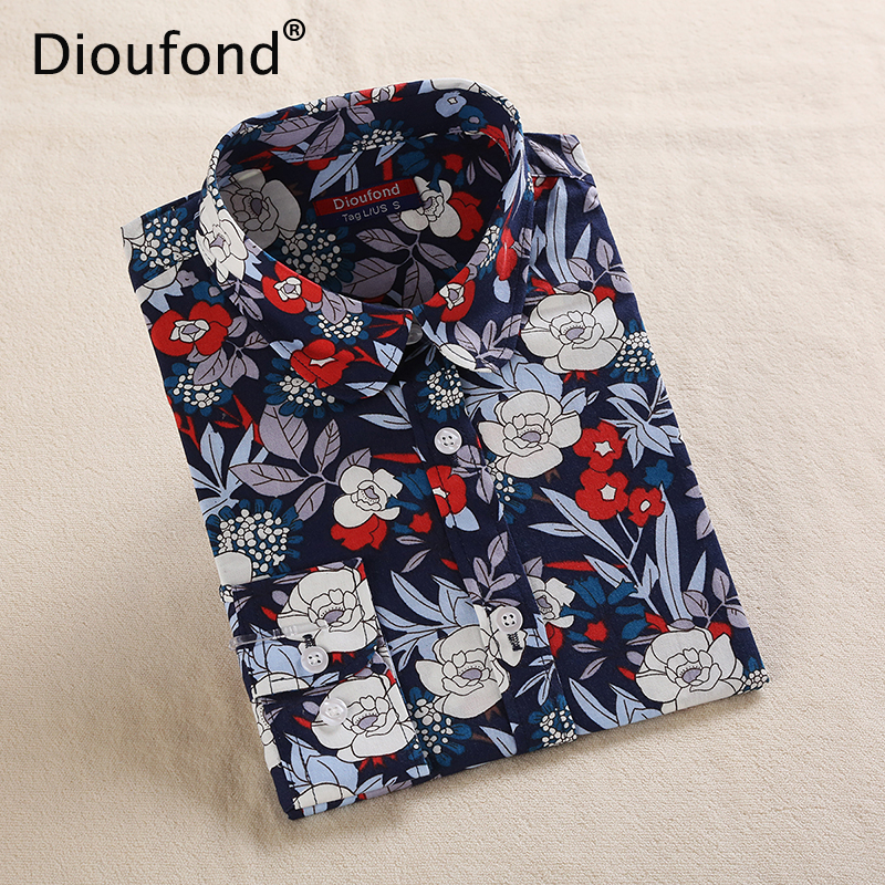 Dioufond 2018 New Floral   Blouse     Shirt   Women Print Vintage Long Sleeve   Blouses   Turn Down Collar Casual White Navy Cotton Tops