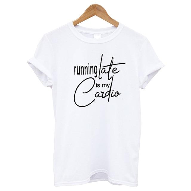 7e9038eb EnjoytheSpirit Women T Shirt Running Late Is My Cardio Lazy Shirts with  Sayings Mom Life Funny
