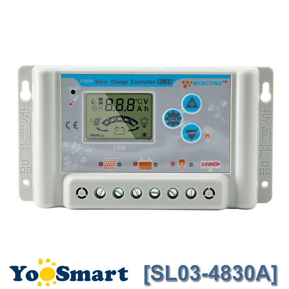<font><b>PWM</b></font> <font><b>30A</b></font> <font><b>Solar</b></font> <font><b>Charge</b></font> <font><b>Controller</b></font> 36V 48V 60V USB LCD Display Adjustable Parameter for Li Li-ion lithium LiFePO4 Batteries image