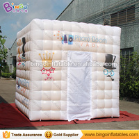 Free Shipping 3X3X3 Meters Inflatable foto cabin white exterior golden interior blow up Party Decoration Tent for toy tents
