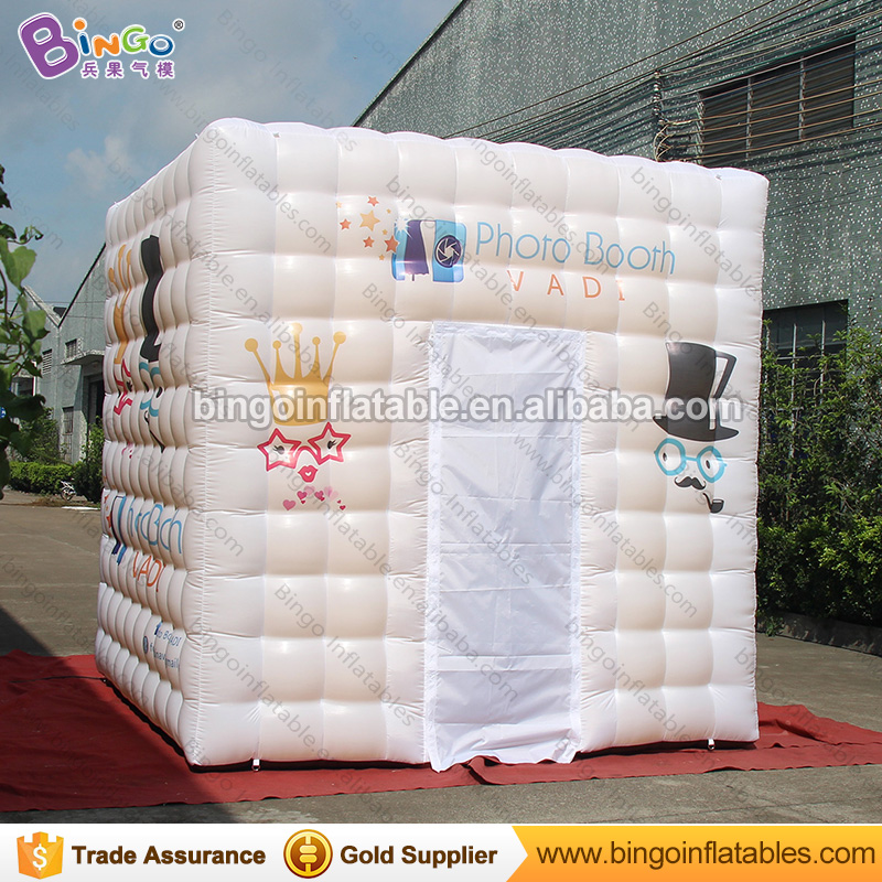 Free Shipping 3X3X3 Meters Inflatable foto cabin white exterior golden interior blow up Party Decoration Tent for toy tents 8x4x3 5mwhite and sliver oxford cloth inflatable stage tent inflatable party tents for events free shipping