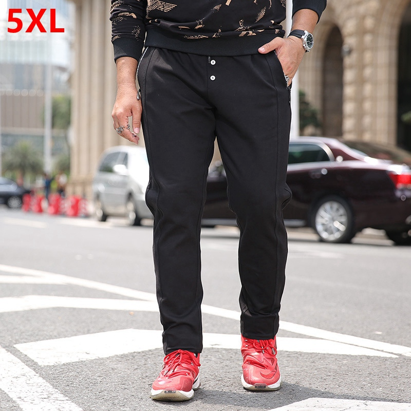 Big size casual pants mens straight Slim sweat pants plus fertilizer 5XL trousers winter elastic waist long pants