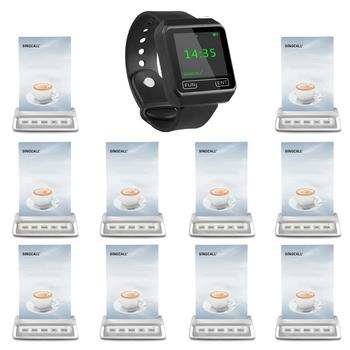 SINGCALL Wireless Restaurant Calling System, aid call,  10 Multi-button guest paging  plus 1 APE6800  wrist mobile receiver