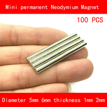 100PCS diameter 5mm 6mm thickness 1mm 2mm n35 Rare Earth strong NdFeB Neodymium Magnet for industrial DIY