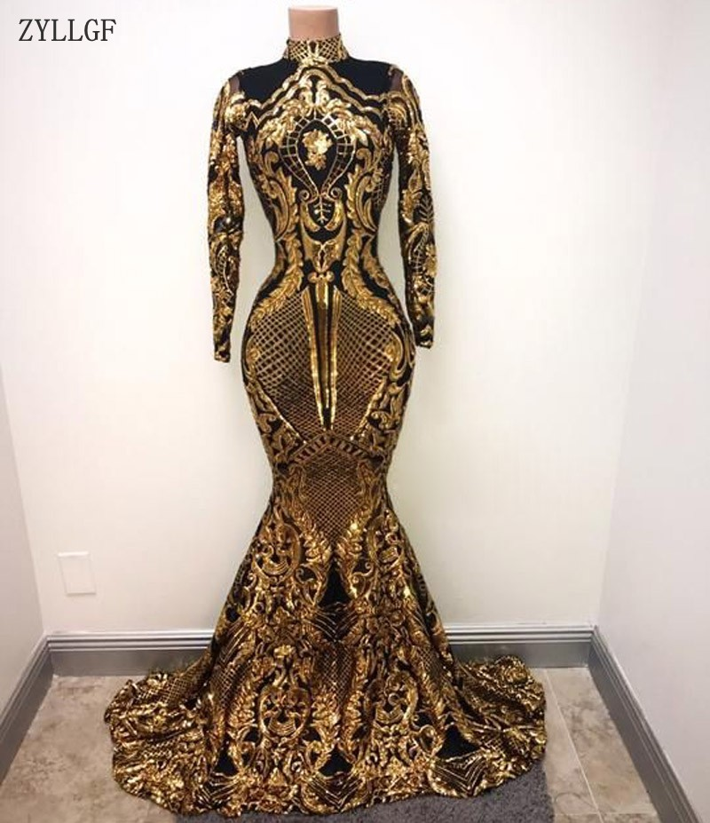 Long Evening Gowns For Wedding: ZYLLGF Gold And Black Long Sleeves Mermaid Prom Dresses