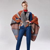 AZUE Women's Autumn Winter Poncho Ethnic Scarf Fashion Print Blanket Scarves Lady Knit Shawl Blanket Cape