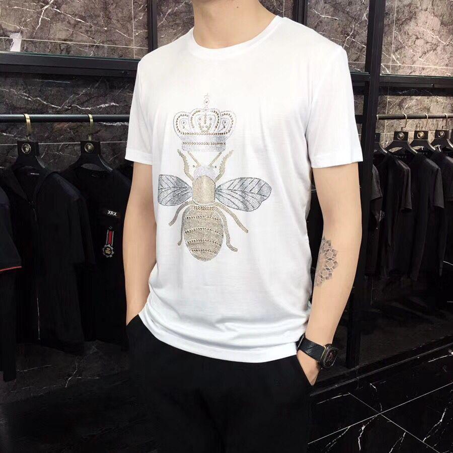 Предложение ограничено по времени, Мужская футболка с круглым вырезом без роскошного алмазного дизайна с коротким рукавом, хлопковые топы и футболки, хлопок - Цвет: Белый