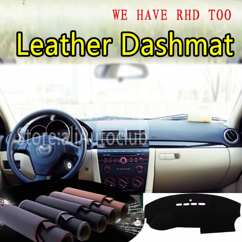 For <font><b>Mazda</b></font> <font><b>3</b></font> MAZDA3 BK 2003 <font><b>2004</b></font> 2005 2006 2007 2008 2009 Leather Dashmat Dashboard Cover Dash Carpet Custom Car Styling LHD+RHD image