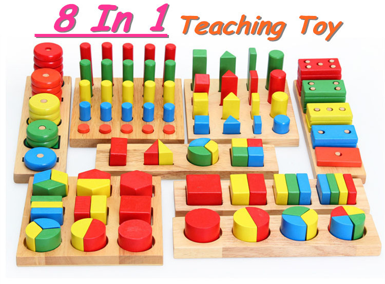 Free shipping! Baby Toys Educational Wooden Toy Montessori Block Toys Building Block Toys gift new baby toys creative wooden educational cartoon stacking block toy rainbow tower children gift baby kid toys