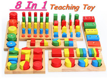 ФОТО hot sale!! educational wooden toy baby early learning teaching toy  colors and shapes cognition 8pcs a set