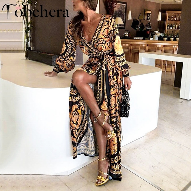 Glamaker Vintage split sexy boho dress Women spring elegant print maxi dress  long sleeve Summer loose long robe party club dress