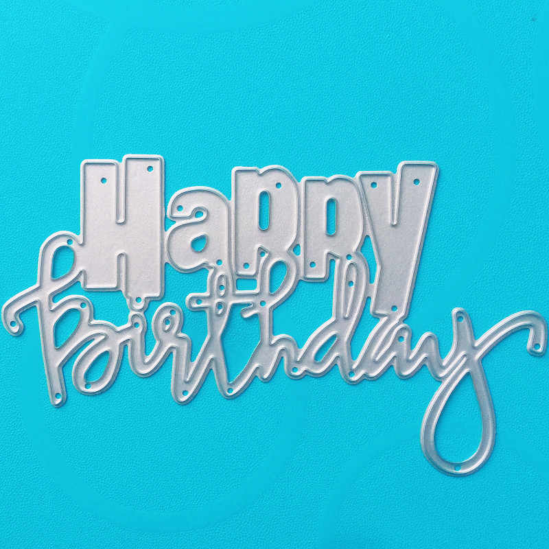YINISE 1650 HAPPY BIRTHDAY Metal Cutting Dies For Scrapbooking Stencils DIY Album Cards Decoration Embossing Folder Die Cuts CUT