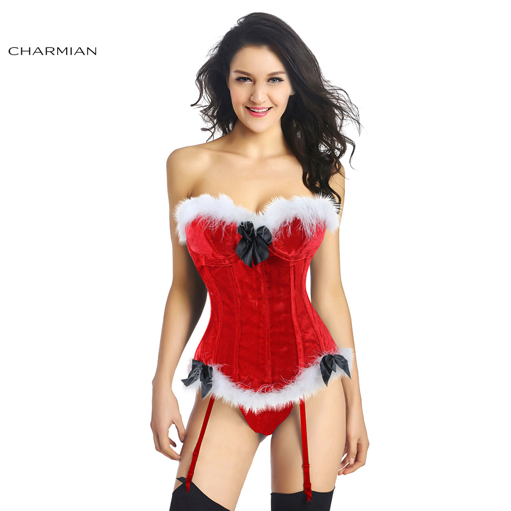 36ddeab5ac8 Charmian Women s Sexy Christmas Corset Santa Claus Red Velvet Overbust  Corsets and Bustiers Underwire Cup Body Shaper