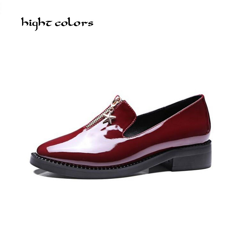Fashion Front Zipper Women Oxfords Round Toe Slip On Women Loafers Patent Leather Plus Size 33-43 Ladies Flat Platform Shoes new round toe slip on women loafers fashion bow patent leather women flat shoes ladies casual flats big size 34 43 women oxfords