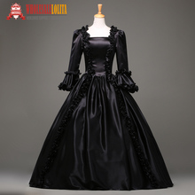 Free Shipping  Victorian Dance Dress Black  Gothic Victorian Stage Ball Gown/ Rococo Style Event Dress