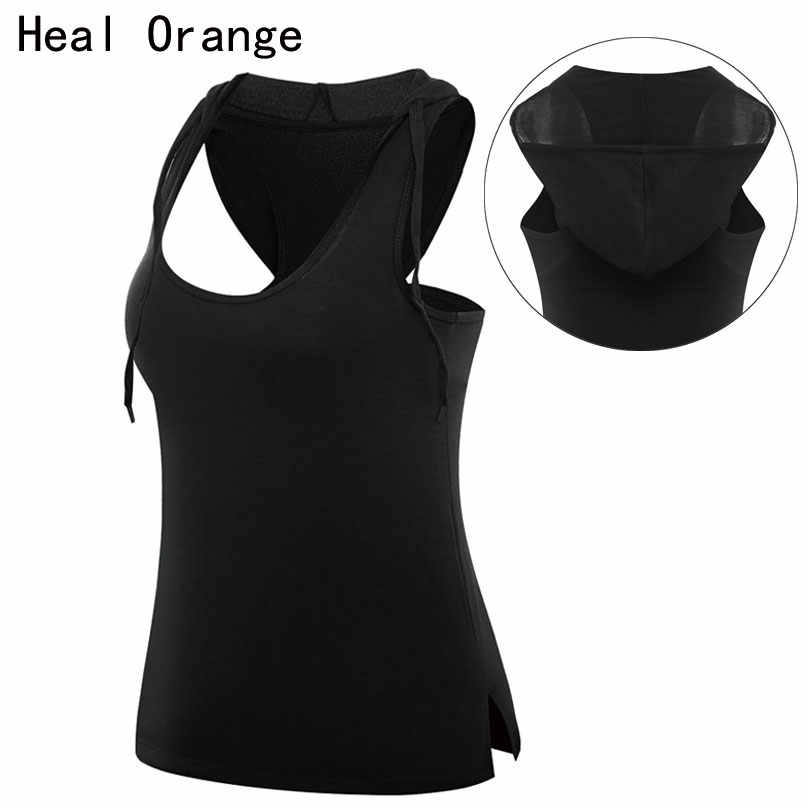 Heal Orange Women Running Vest Sportswear Hooded Women Tank Tops Sleeveless Dry Quick  Gym Clothes Singlet Running Yoga shirts
