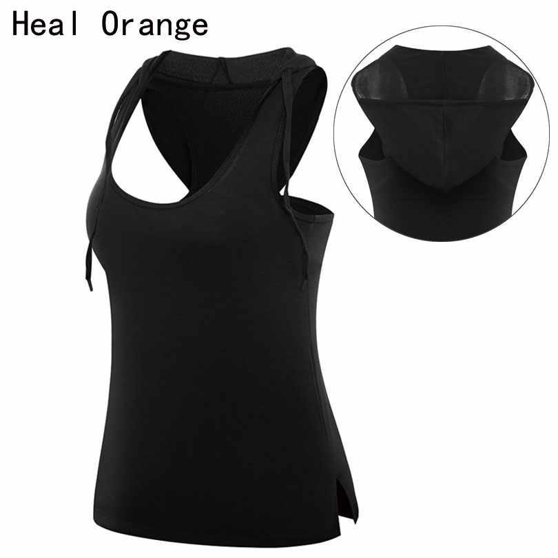 癒すオレンジ女性ベストスポーツウェアフード付き女性のタンクドライクイックジム服一重ランニングヨガシャツ