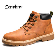 Фотография ZENVBNV New Arrival Waterproof PU Men Boots British Breathable Lace-Up Ankle Boots Hard-Wearing Soles Male Boots Big Size 39-44