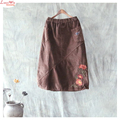 Warm Corduroy Embroidery Art Long Bud Skirt Modern Ladies New Floral Mid-Calf Skirts
