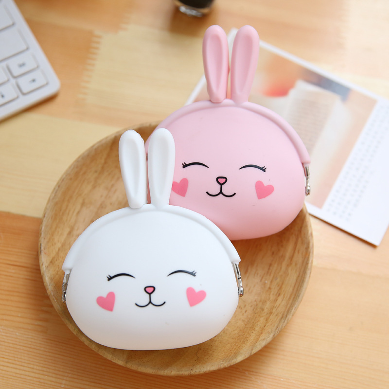 RU&BR Candy Color Women Coin Purse Silicone Money Bag Lady Coin Pouch Cute Bunny Headphone Bag Wallets Women Key Wallet cute girl hasp small wallets women coin purses female coin bag lady cotton cloth pouch kids money mini bag children change purse