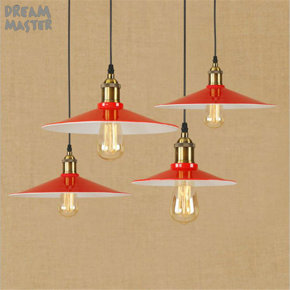 Big Shade Lid Light Rustic Red and White Pendant Edison Lamp Industrial Vintage Metal Brass iron pendant lights lamparas fixture brass cone shade pendant light edison bulb led vintage copper shade lighting fixture brass pendant lamp d240mm diameter ceiling