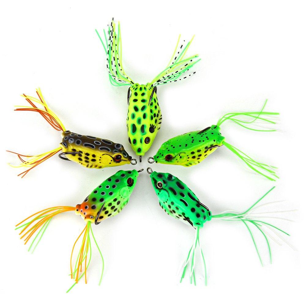 5pcs Topwater Frog Fishing Lure Soft Bait Hollow Body Artificial Bait Fishing Lure Crankbait Lures Soft Bass Hook Baits 5.5cm
